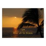 Puesta del sol tropical hawaiana del feliz tarjeta de felicitación