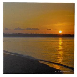 Puesta del sol tropical imponente azulejo cuadrado grande