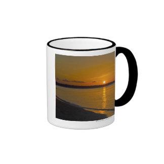 Puesta del sol tropical imponente tazas de café