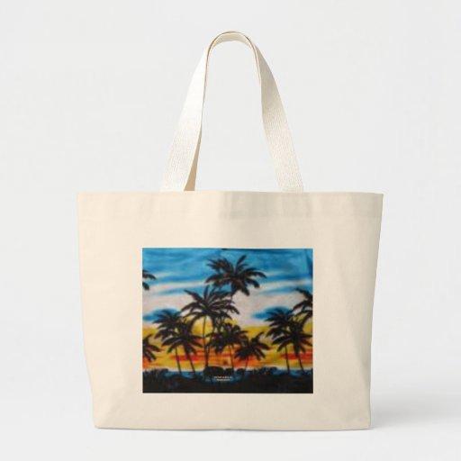 Puesta del sol tropical (impresión de la hawaiana  bolsa