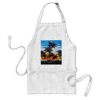 Puesta del sol tropical (impresión de la hawaiana  delantales