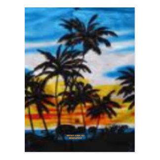 Puesta del sol tropical (impresión de la hawaiana  postales