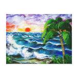 Puesta del sol tropical, lona envuelta para galerias