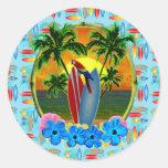 Puesta del sol tropical pegatina redonda