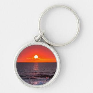 Puesta del sol tropical personalizada del océano llaveros personalizados