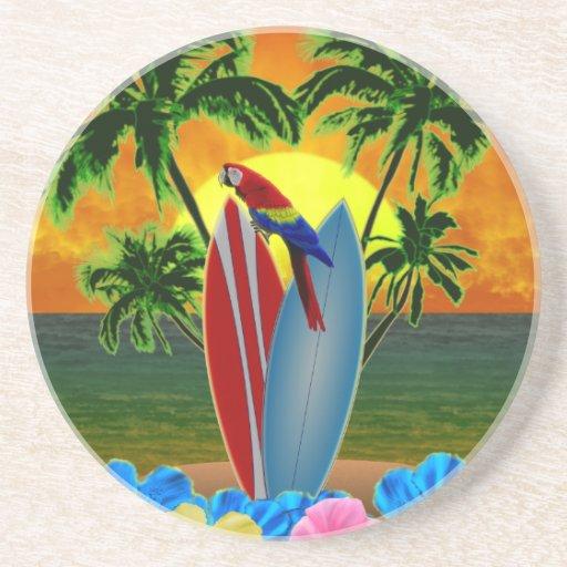 Puesta del sol tropical posavaso para bebida