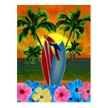 Puesta del sol tropical postal