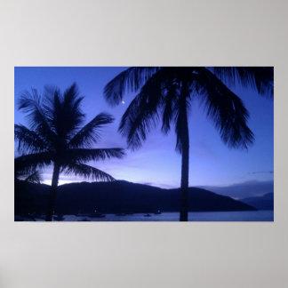 Puesta del sol tropical posters