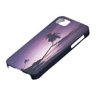 puesta del sol tropical púrpura iPhone 5 carcasa