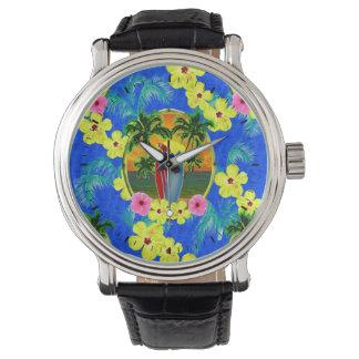 Puesta del sol tropical reloj