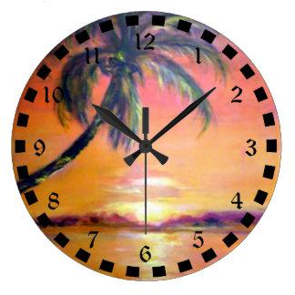 Puesta del sol tropical reloj redondo grande
