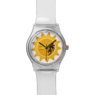 Puesta del sol tropical relojes de mano