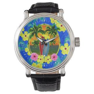 Puesta del sol tropical relojes de pulsera