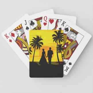 Puesta del sol tropical romántica cartas de póquer