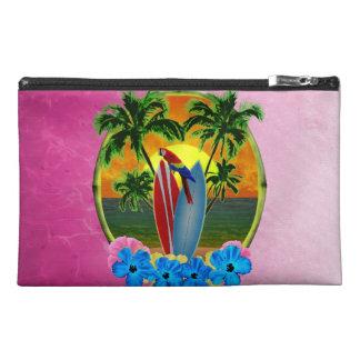 Puesta del sol tropical rosada