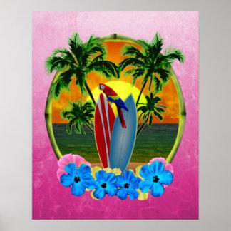 Puesta del sol tropical rosada póster