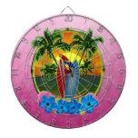 Puesta del sol tropical rosada tablero de dardos