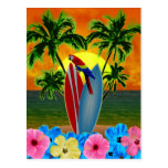 Puesta del sol tropical tarjetas postales