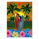 Puesta del sol tropical tarjeton