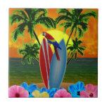 Puesta del sol tropical teja  ceramica