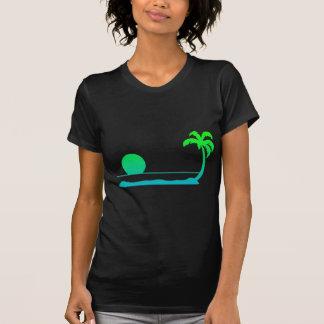 Puesta del sol tropical - verde/azul camiseta