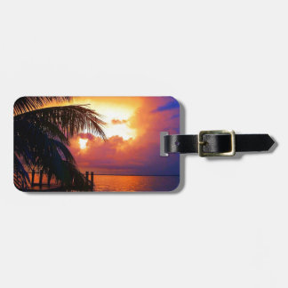 Puesta del sol tropical y palmera etiqueta de equipaje