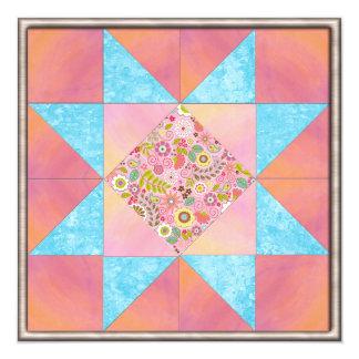 """Puesta del sol y edredón floral del agua invitación 5.25"""" x 5.25"""""""