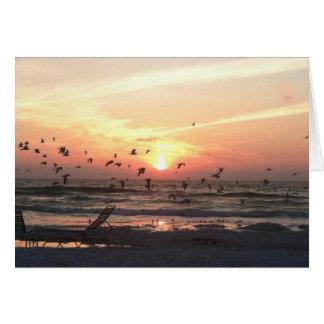 Puesta del sol y gaviotas en la imagen del agua tarjeta pequeña
