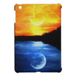 puesta del sol y luna iPad mini carcasas