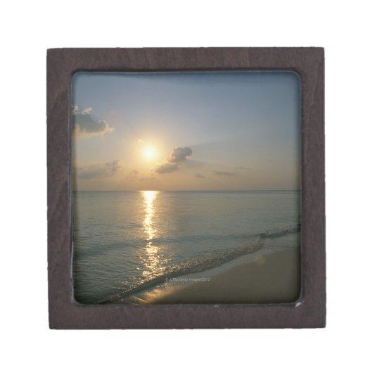 Puesta del sol y mar 2 caja de joyas de calidad
