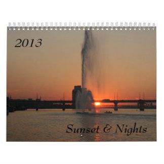 Puesta del sol y noches, 2013 calendarios de pared