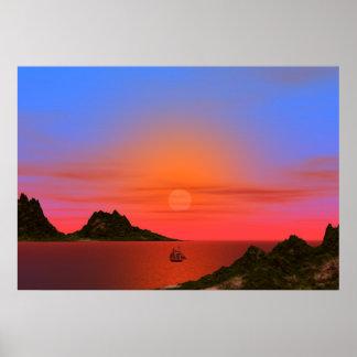 Puesta del sol y poster del barco