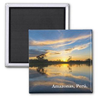 Puesta del sol y reflexión en el Amazonas Imán Cuadrado