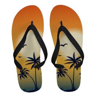 Puesta del sol y sandalias del flip-flop de las pa
