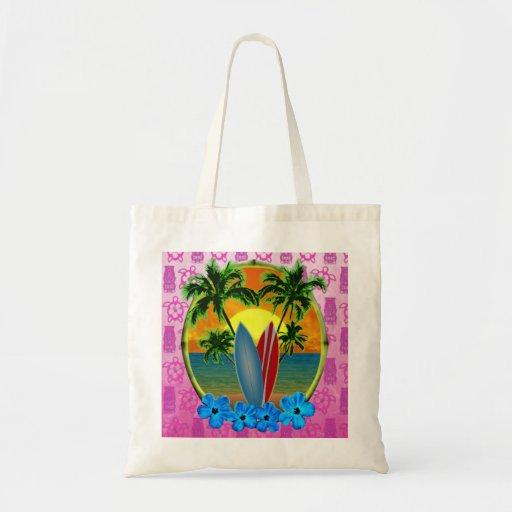 Puesta del sol y tablas hawaianas bolsa de mano