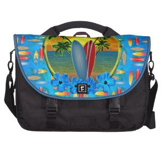 Puesta del sol y tablas hawaianas bolsa de ordenador