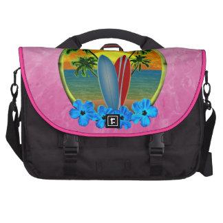 Puesta del sol y tablas hawaianas bolsas de portátil