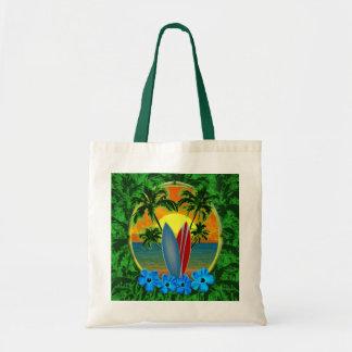 Puesta del sol y tablas hawaianas bolsa tela barata