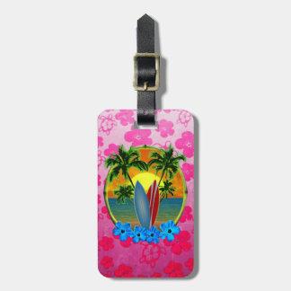 Puesta del sol y tablas hawaianas etiquetas bolsa