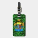 Puesta del sol y tablas hawaianas etiquetas bolsas