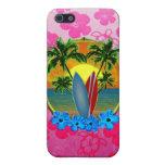 Puesta del sol y tablas hawaianas iPhone 5 carcasas