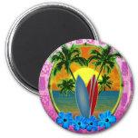 Puesta del sol y tablas hawaianas imán