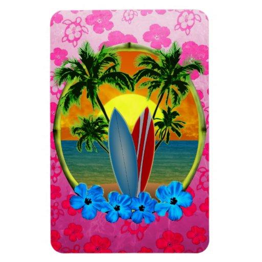 Puesta del sol y tablas hawaianas imán rectangular