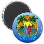 Puesta del sol y tablas hawaianas imanes de nevera