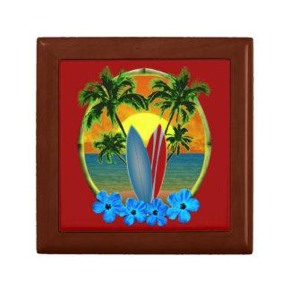 Puesta del sol y tablas hawaianas caja de joyas