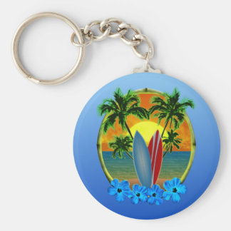 Puesta del sol y tablas hawaianas llavero redondo tipo pin