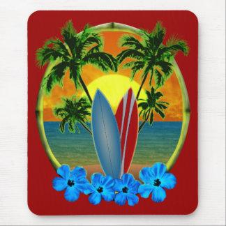Puesta del sol y tablas hawaianas mouse pads