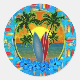 Puesta del sol y tablas hawaianas pegatinas redondas