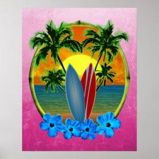 Puesta del sol y tablas hawaianas póster