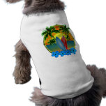 Puesta del sol y tablas hawaianas playera sin mangas para perro